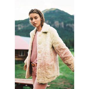 New Anthropologie Ultra Plush Ombre Faux Fur Coat